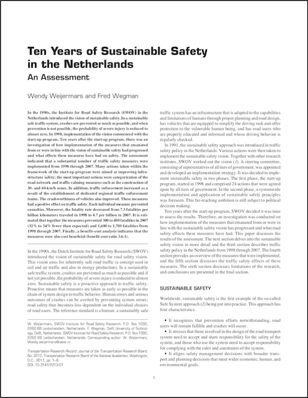 Ten Years of Sustainable Safety in The Netherlands <br /><br />(2009) icon